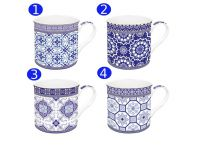 Easylifedesign Becher Azulejo Fine Bone China weiß blau